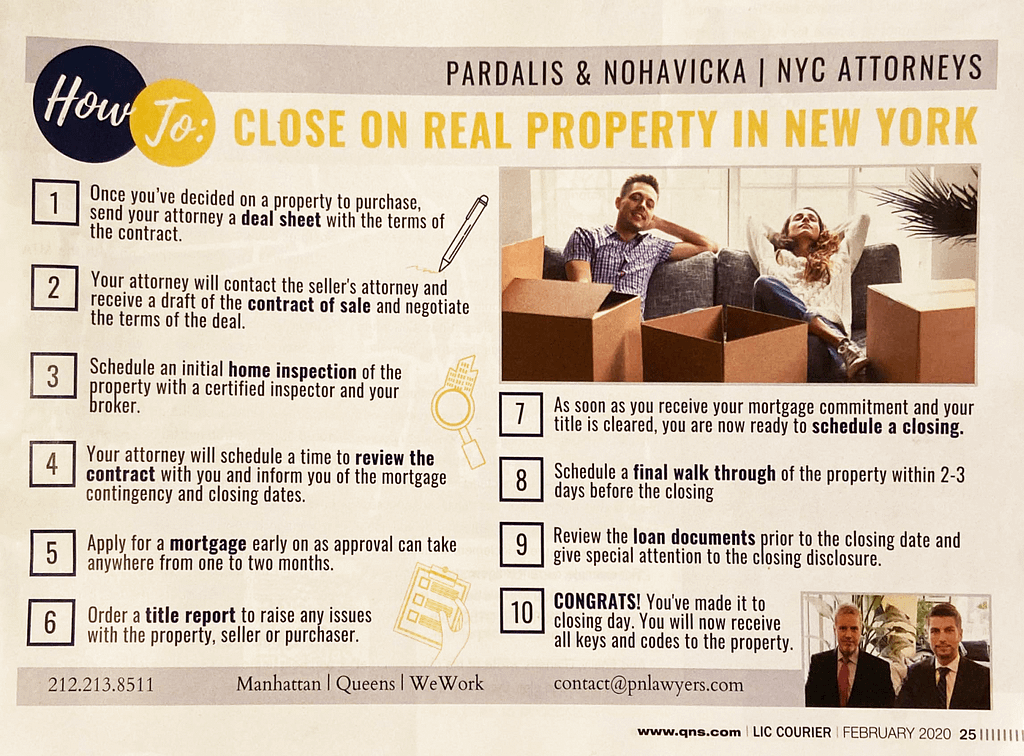 "Image of LIC Magazine article titled ""How To: Close On Real Property In New York"" written by Pardalis & Nohavicka 