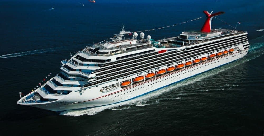 Carnival Liberty cruise ship at sea.