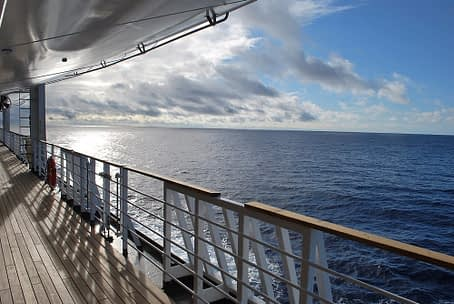 View of ocean from cruise ship deck.